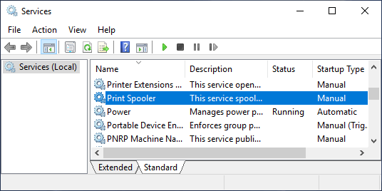 Print Spooler Service on Windows Services Screen