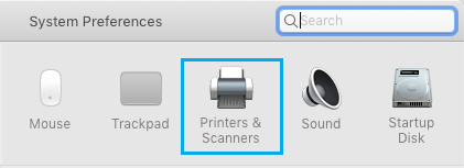Printers & Scanners Tab on Mac System Preferences Screen