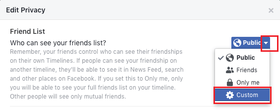 Custom Privacy Option in Facebook