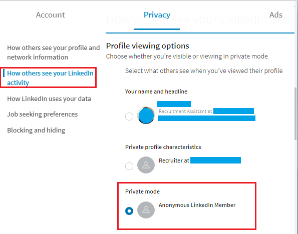 Privacy Mode Option on LinkedIn