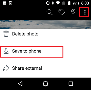 Save to Facebook Photo to Phone