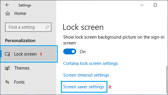 Open Windows Screen Saver Settings