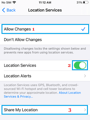 Share My Location Option on Location Services Screen