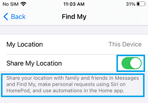 Share My Location Working Message on iPhone
