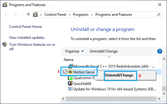 Uninstall Windows Program Using Control Panel