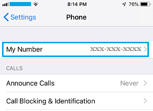 Phone Number Displayed on iPhone