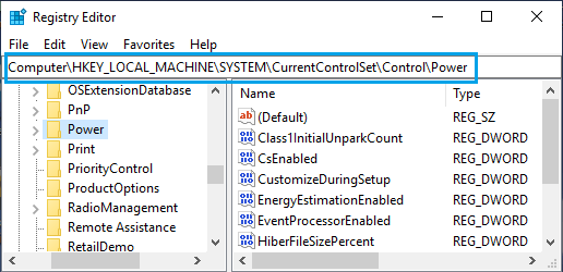 Navigate to Power Entry on Registry Editor Screen