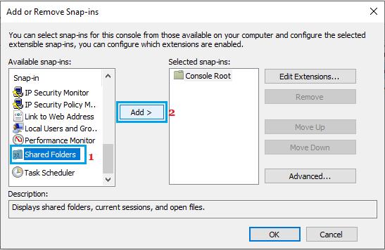 Add Shared Folders Snap-in