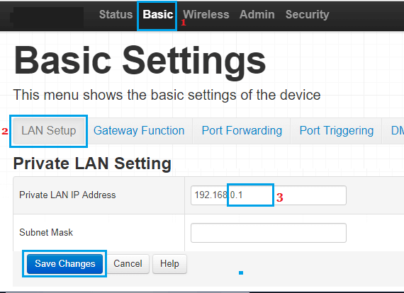 Change Router IP Address