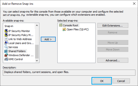Add Snap-in to Manage Another Computer