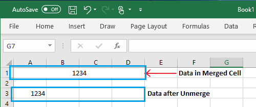 Data After Unmerging Cells in Excel