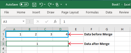 Data Loss After Merging Cells in Excel