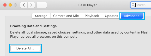 Delete All Browsing Data and Settings on Flash Player Mac