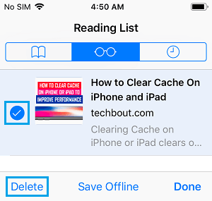 Delete Safari Reading List Items On iPhone