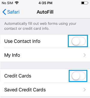 Disable AutoFill Info on iPhone