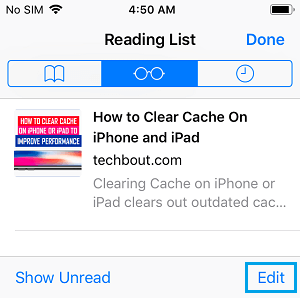 Edit Safari Reading List on iPhone