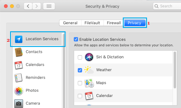 Enable or Disable Location Services on Mac