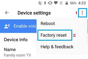 Factory Reset Chromecast using Home App