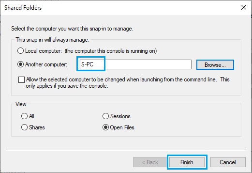 Select Computer On Which Shared File Is Located