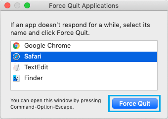 Force Quit Safari Browser on Mac