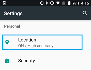 Location tab on Android Settings Screen