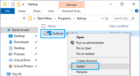 Delete Outlook From Windows Startup Folder