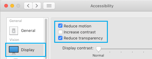 Reduce Motion and Transparency on Mac