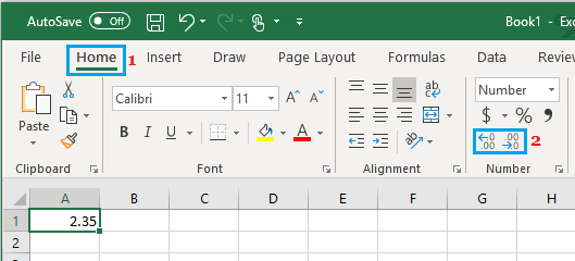 Set Decimal Places in Excel