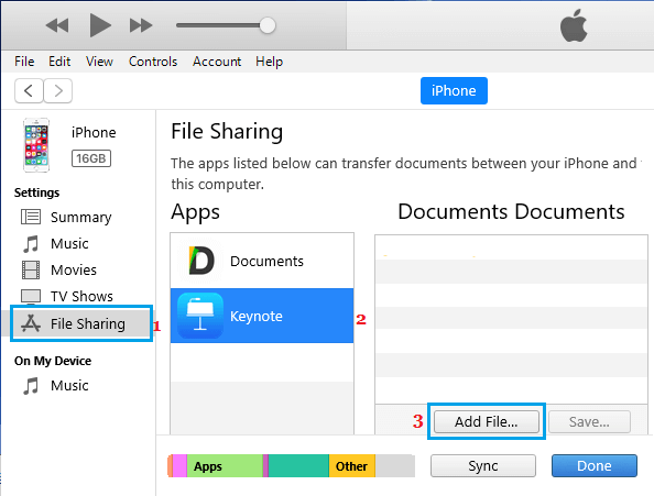 Add Keynote Presentation File to iPhone