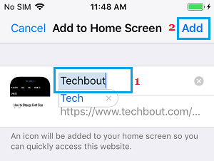 Add Website Shortcut to Home Screen on iPhone