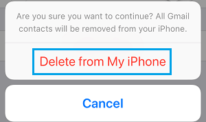 Delete Email Account Contacts Pop-up on iPhone