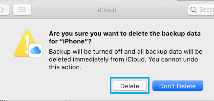 Delete iCloud Backup Confirmation Pop-up on Mac