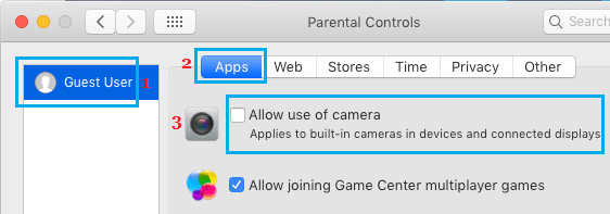 Disable Camera on Mac Using Parental Controls