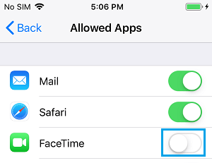 Disable FaceTime on iPhone Using Screen Time