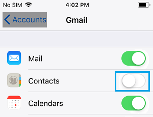 Disable Contacts Sync to iPhone