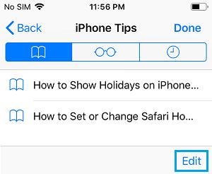 Edit Bookmarks Folder on iPhone