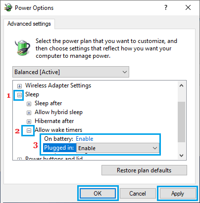 Enable Wake Timers on Windows PC