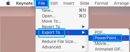 Export Keynote Presentation Option on Mac