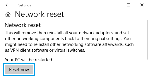 Reset Network Settings on Windows PC