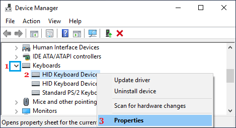 Open Keyboard Properties on Device Manager screen
