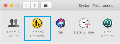 Parental Controls on Mac System Preferences Screen