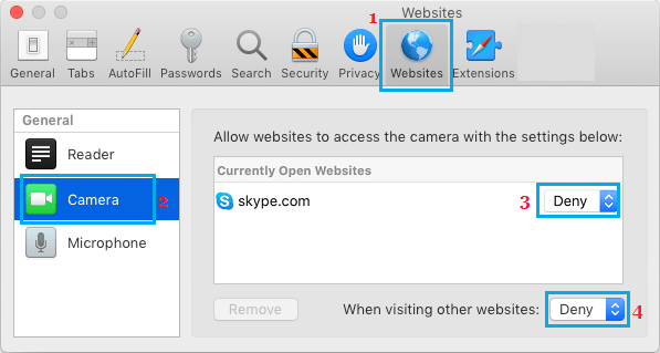 Prevent Websites From Accessing Camera on Mac