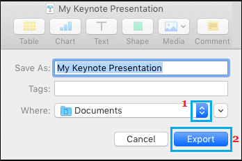 Select Keynote Presentation Save Location on Mac