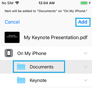 Add Keynote File to Documents Folder on iPhone