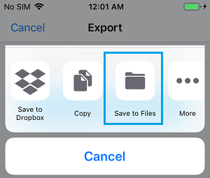 Save to Files Option on iPhone