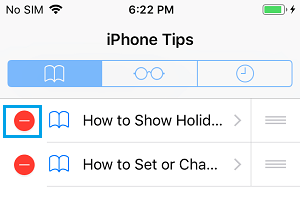 Select Bookmarks to Delete in Bookmarks Folder on iPhone