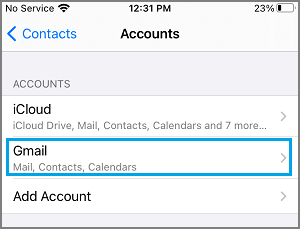 Select Gmail Account on iPhone