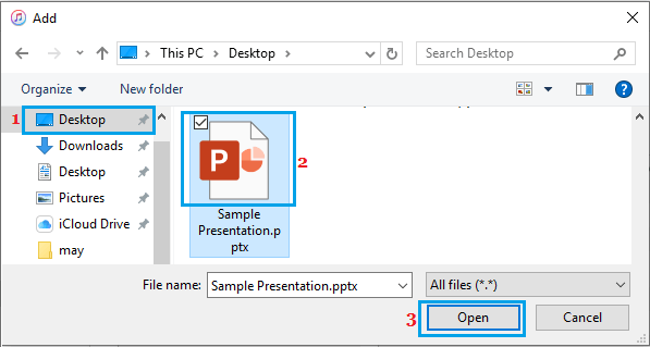 Select PowerPoint File to Transfer to iPhone or iPad