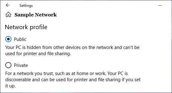 Select Public or Private Network in Windows 10