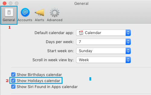 Show Holidays in Calendar App on Mac